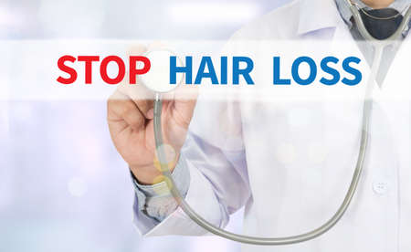 thinning: STOP HAIR LOSS Medicine doctor hand working on virtual screen