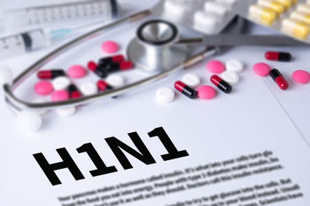 h1n1: H1N1 and Background of Medicaments Composition, Stethoscope, mix therapy drugs doctor and selectfocus
