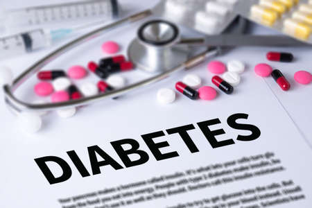 deficiency: DIABETES CONCEPT and Background of Medicaments Composition, Stethoscope, mix therapy drugs doctor and selectfocus