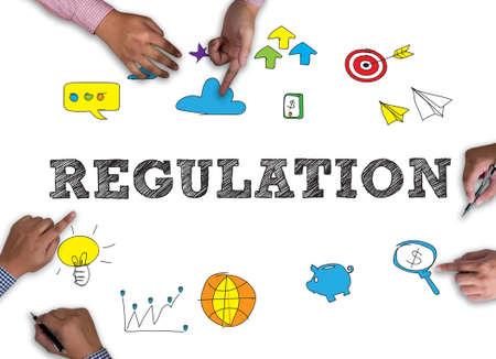 regulate: REGULATION vintage blackboard with wooden frame on white background. Stock Photo