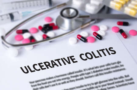 colonoscopy: ULCERATIVE COLITIS and Background of Medicaments Composition, Stethoscope, mix therapy drugs doctor and selectfocus