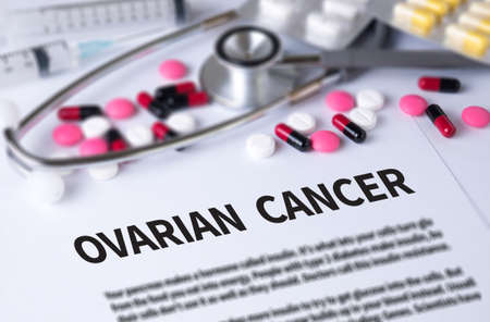 ovarian: OVARIAN CANCER CONCEPT and Background of Medicaments Composition, Stethoscope, mix therapy drugs doctor and selectfocus