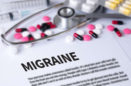 megrim: MIGRAINE and Background of Medicaments Composition, Stethoscope, mix therapy drugs doctor and selectfocus Stock Photo