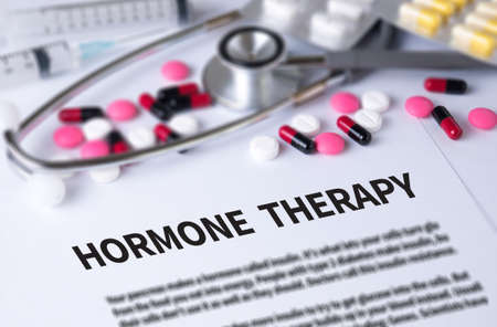 pituitary: HORMONE THERAPY and Background of Medicaments Composition, Stethoscope, mix therapy drugs doctor and selectfocus