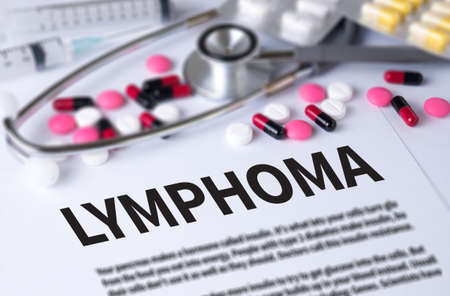 lymphoma: LYMPHOMA and Background of Medicaments Composition, Stethoscope, mix therapy drugs doctor and selectfocus Stock Photo