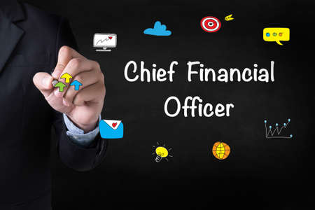 cfo: CFO    Chief Financial Officer Businessman drawing Landing Page on blurred abstract background Stock Photo
