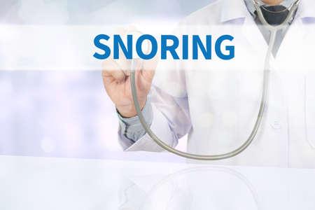SNORING Medicine doctor hand working on virtual screen