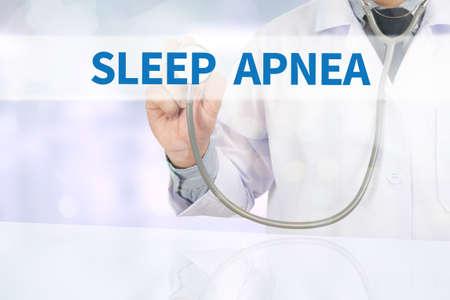 somnambulism: SLEEP APNEA Medicine doctor hand working on virtual screen