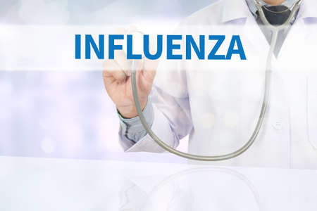 antigenic: INFLUENZA Medicine doctor hand working on virtual screen