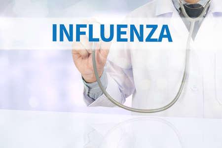 morbidity: INFLUENZA Medicine doctor hand working on virtual screen