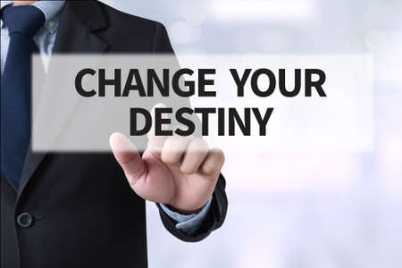destiny: CHANGE YOUR DESTINY Businessman hands touching on virtual screen and blurred city background