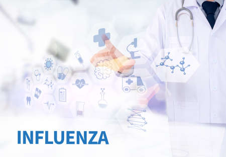 catarrh: INFLUENZA Medicine doctor working with computer interface as medical