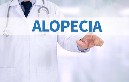 pc case: ALOPECIA Medicine doctor working with computer interface as medical