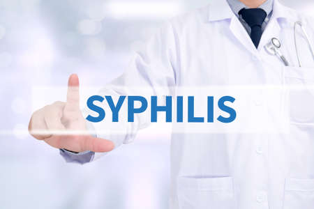 syphilis: SYPHILIS Medicine doctor working with computer interface as medical Stock Photo