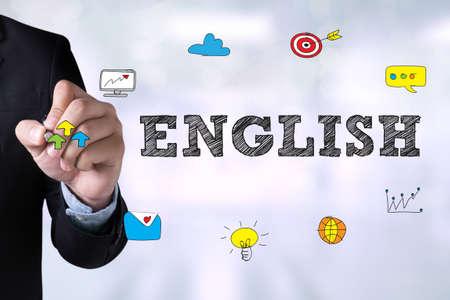 pronunciation: ENGLISH ( British England Language Education ) and Businessman drawing Landing Page on blackboard