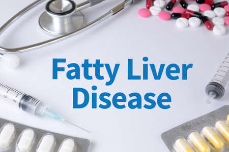 fatty liver: Fatty  Liver  Disease Text, On Background of Medicaments Composition, Stethoscope, mix therapy drugs doctor flu antibiotic pharmacy medicine medical