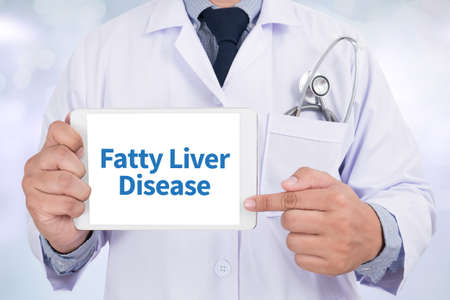 fatty liver: Fatty  Liver  Disease Doctor holding  digital tablet Stock Photo