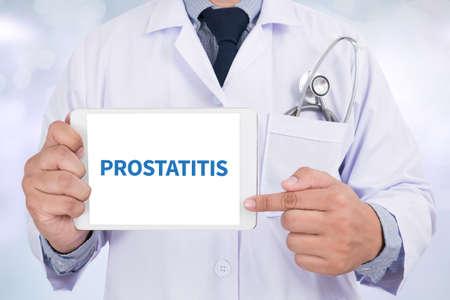 glandular: PROSTATITIS Doctor holding  digital tablet