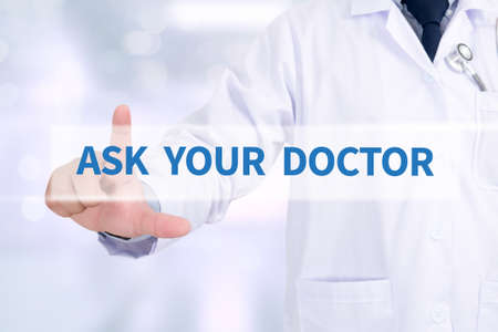 ASK YOUR DOCTOR Medicine doctor working with computer interface as medical Stock Photo
