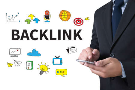 backlinks: Backlinks Technology Online Web businessman working use smartphone