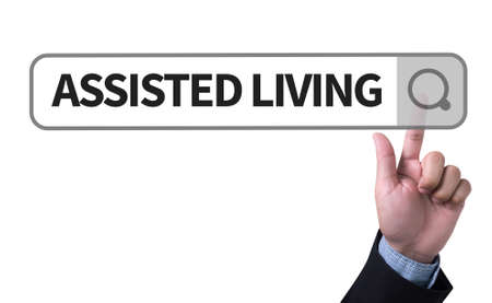 assisted living: ASSISTED LIVING man pushing (touching) virtual web browser address bar or search bar