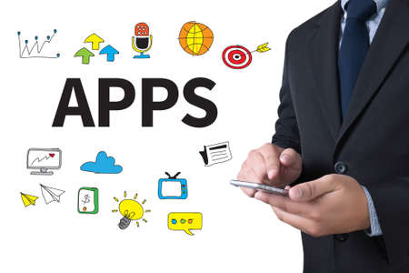 smartphone apps: Apps concept businessman working use smartphone