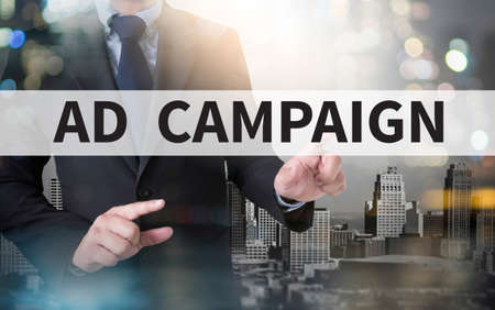 agitation: AD CAMPAIGN and businessman working with modern technology