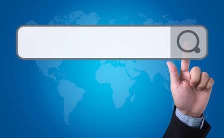 url virtual: man pushing (touching) virtual web browser address bar or search bar