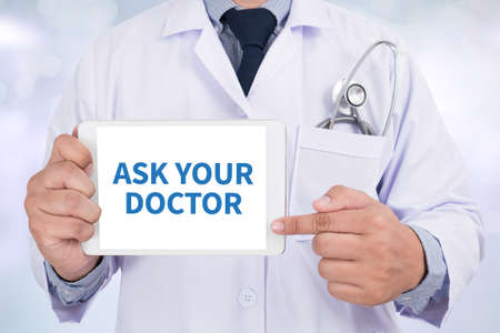 allergy questions: ASK YOUR DOCTOR Doctor holding  digital tablet