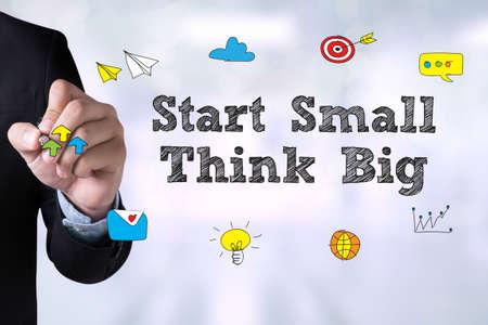 surpass: Start Small Think Big and Businessman drawing Landing Page on blackboard Stock Photo