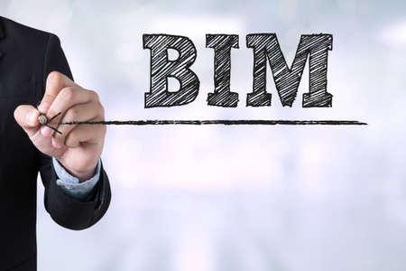 Homme d'affaires BIM dessin Landing Page sur fond Abstrait flou