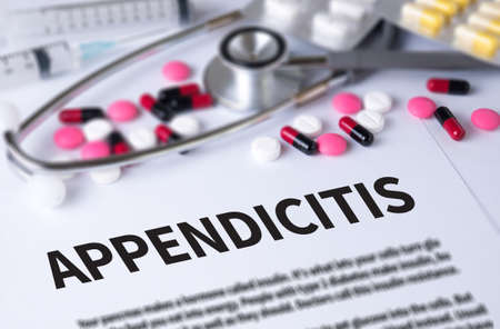 peritonitis: APPENDICITIS and Background of Medicaments Composition, Stethoscope, mix therapy drugs doctor and selectfocus