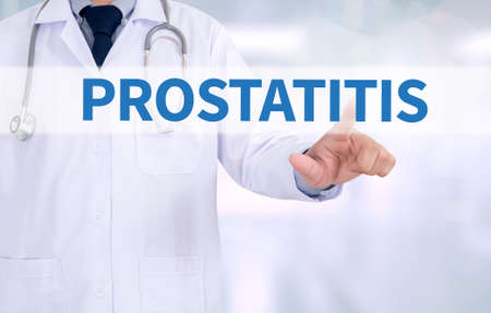 prostatic: PROSTATITIS Medicine doctor working with computer interface as medical