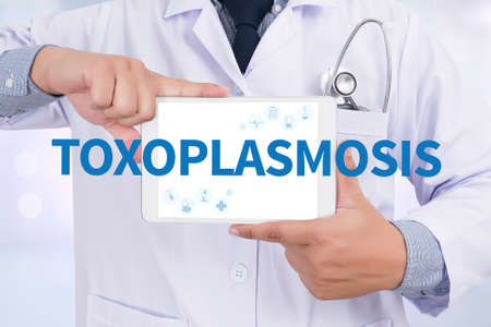 convulsions: TOXOPLASMOSIS Doctor holding  digital tablet Stock Photo