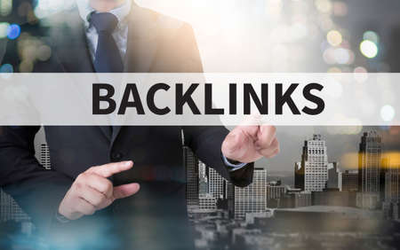 backlinks: BACKLINKS and businessman working with modern technology