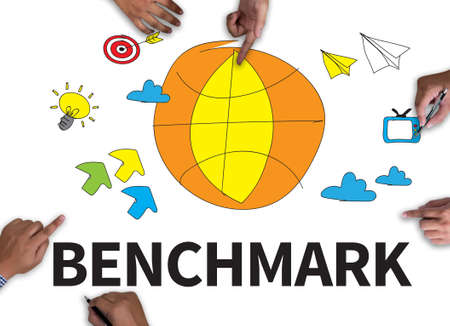 benchmark: BENCHMARK with wooden frame on white background. Stock Photo
