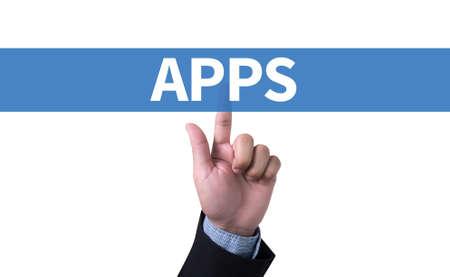 man pushing: Apps concept man pushing (touching) virtual web browser address bar or search bar Stock Photo