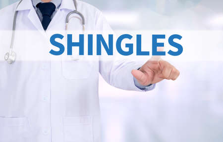 sores: SHINGLES Medicine doctor working with computer interface as medical