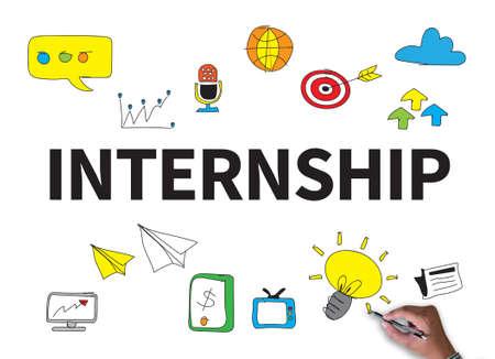 internship: INTERNSHIP businessman work on white broad, top view