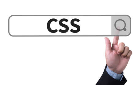 css: CSS Web Online Technology Web Design man pushing (touching) virtual web browser address bar or search bar