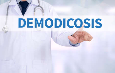 the weakening: DEMODICOSIS Medicine doctor working with computer interface as medical