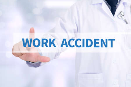 death head holding: WORK ACCIDENT Medicine doctor working with computer interface as medical