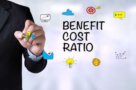 ratio: BENEFIT COST RATIO and Businessman drawing Landing Page on blackboard