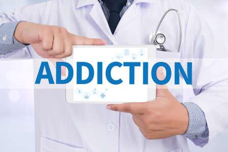habituation: ADDICTION Doctor holding  digital tablet
