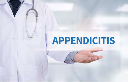 appendicitis: APPENDICITIS Medicine doctor hand working Stock Photo