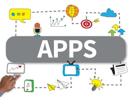 broad: Apps concept businessman work on white broad, top view Stock Photo