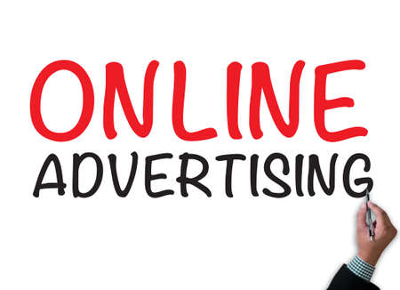 ONLINE ADVERTISING businessman work on white broad, top view