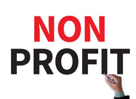non: NON PROFIT businessman work on white broad, top view