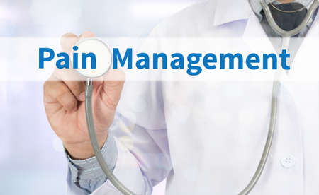 Pain Management Medicine doctor hand working on virtual screen