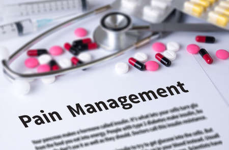 pain management: Pain Management and Background of Medicaments Composition, Stethoscope, mix therapy drugs doctor and selectfocus